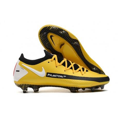 Men Nike Phantom GT Elite FG 2021 Cleat Yellow Black White