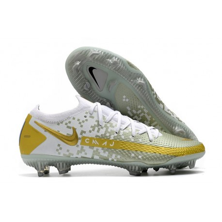 Men Nike Phantom GT Elite FG 2021 Cleat White Golden