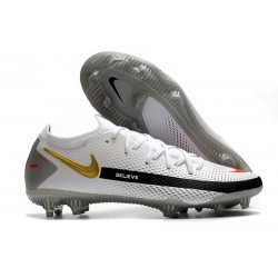 Men Nike Phantom GT Elite FG 2021 Cleat White Black Gold