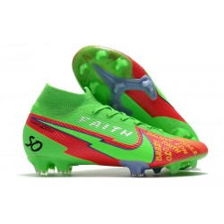 New Nike Mercurial Superfly 7 Elite DF FG Green Red Faith