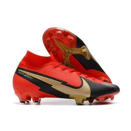 New Nike Mercurial Superfly 7 Elite DF FG Red Black Golden