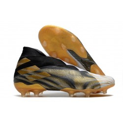 Adidas Nemeziz 19+ FG Soccer Cleat - Black Gold White