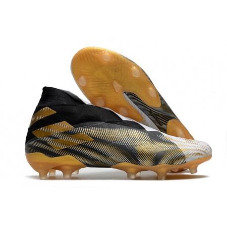 Adidas Nemeziz 19+ FG Soccer Cleat - Black Gold White
