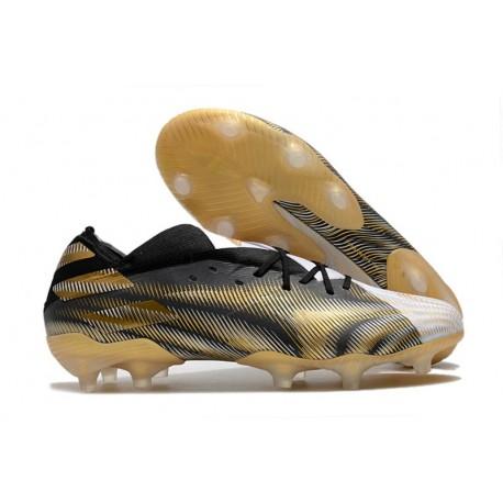 adidas Nemeziz 19.1 FG Soccer Boots - White Gold Metallic Core Black
