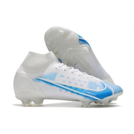 Nike Mercurial Superfly VIII Elite FG Cleat White Blue