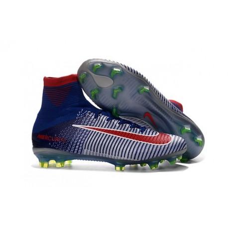 Nike Men Mercurial Superfly V FG ACC Soccer Shoes - White Blue Red