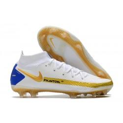 Nike Phantom GT Elite DF FG Soccer Cleats White Gold Blue