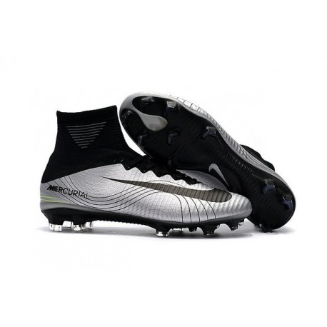 Nike Mercurial Superfly 5 FG - Mens Football Boots -Silver Black