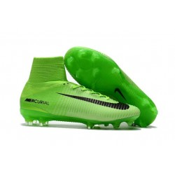 New 2017 Nike Mercurial Superfly V FG Cleats - Green Black