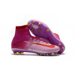 New 2017 Nike Mercurial Superfly V FG Cleats - Red Pink White