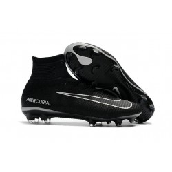 New 2017 Nike Mercurial Superfly V FG Cleats - Black Grey