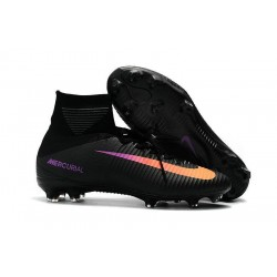 New 2017 Nike Mercurial Superfly V FG Cleats - Black Orange
