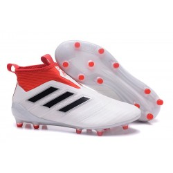 adidas ACE 17+ Purecontrol FG Mens Football Boots - White Black Red