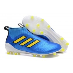 New 2017 adidas ACE 17+ Purecontrol Laceless FG Cleat (Blue Yellow)