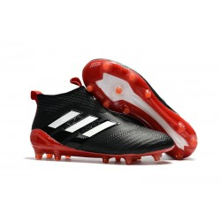 New 2017 adidas ACE 17+ Purecontrol Laceless FG Cleat (Black Red White)