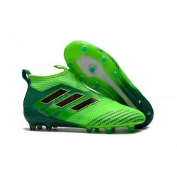 New 2017 adidas ACE 17+ Purecontrol Laceless FG Cleat (Solar Green Black)