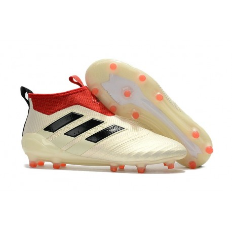 New 2017 adidas ACE 17+ Purecontrol Laceless FG Cleat ( White Core Black Red)
