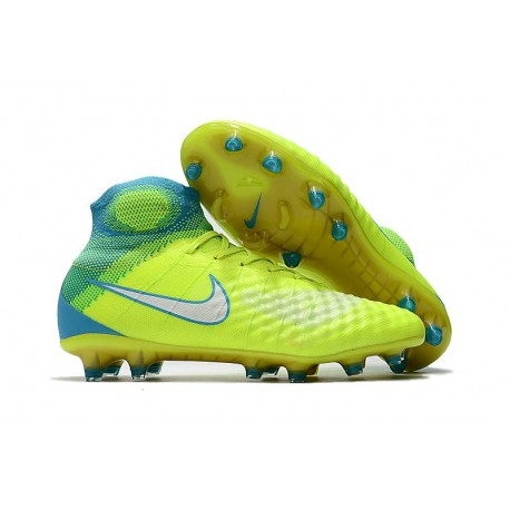 hot sale online ba302 f7d04 low price nike magista obra ii fg high top soccer boot volt blue c4582 82243