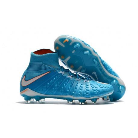 High Top Nike Hypervenom Phantom III Dynamic Fit FG Boot Blue White