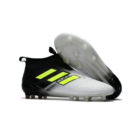 New 2017 adidas ACE 17+ Purecontrol Laceless FG Cleat ( Black White Yellow)