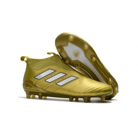 New 2017 adidas ACE 17+ Purecontrol Laceless FG Cleat (Gold White)