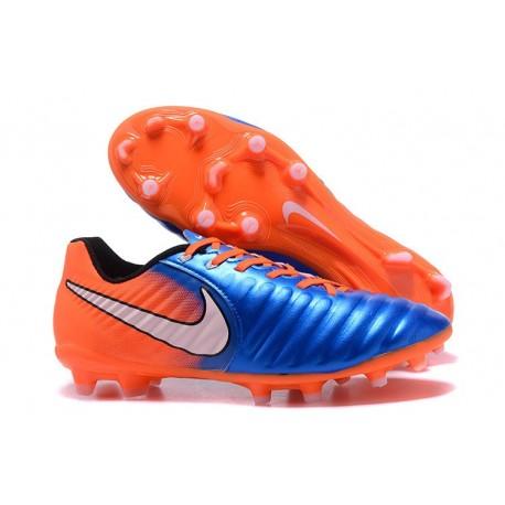 Nike Tiempo Legend VII FG K-Leather News Soccer Cleat - Orange Blue