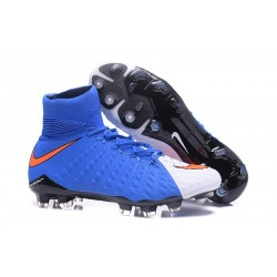 High Top Nike Hypervenom Phantom III Dynamic Fit FG Boot Blue White