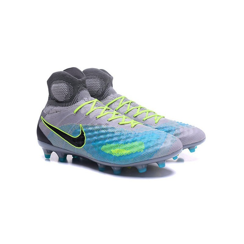 online store 102b3 a9c26 Nike Top Magista Obra 2 FG ACC Soccer Cleats Grey Blue Black