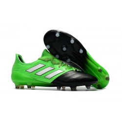 adidas Ace 17.1 Leather FG Mens Soccer Cleats (Green Black Silver)