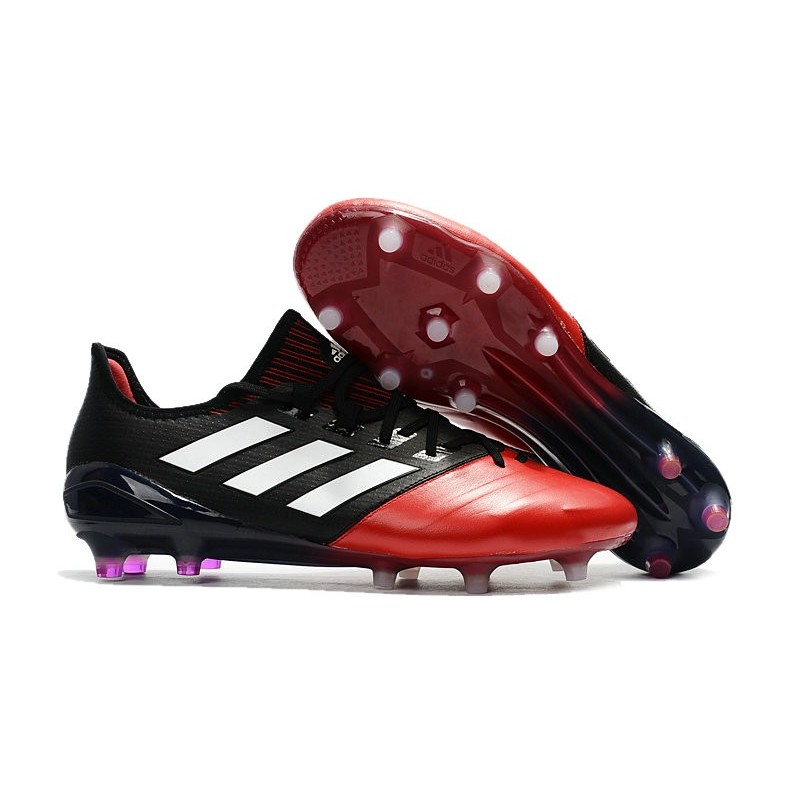 Registrarse petróleo crudo Colaborar con  adidas Ace 17.1 Leather FG Mens Soccer Cleats (Black Red White)
