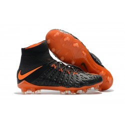 Nike Hypervenom Phantom 3 DF Flyknit FG Cleat - Black Orange