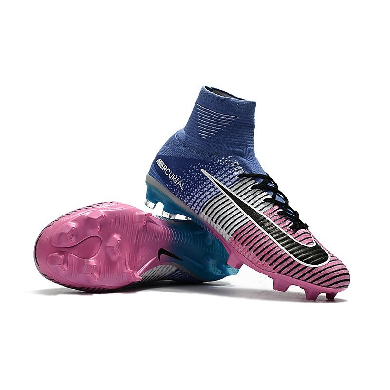 buy online 702d3 90bd1 Nike Mercurial Superfly 5 FG New Soccer Boots Blue Pink Blac