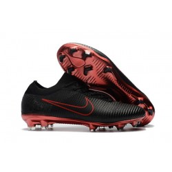 Nike Mercurial Vapor Flyknit Ultra FG Firm Ground Boots Black Red