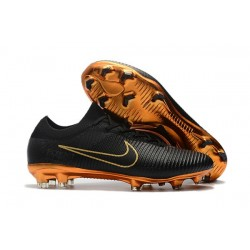 Nike Mercurial Vapor Flyknit Ultra FG Firm Ground Boots Black Golden