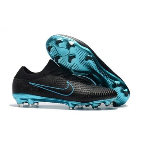 Nike Mercurial Vapor Flyknit Ultra FG Firm Ground Boots Black Blue