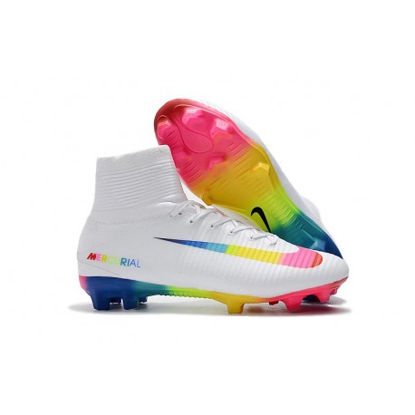 13a0103ec Nike Mercurial Superfly 5 FG Firm Ground Boot -White Rainbow