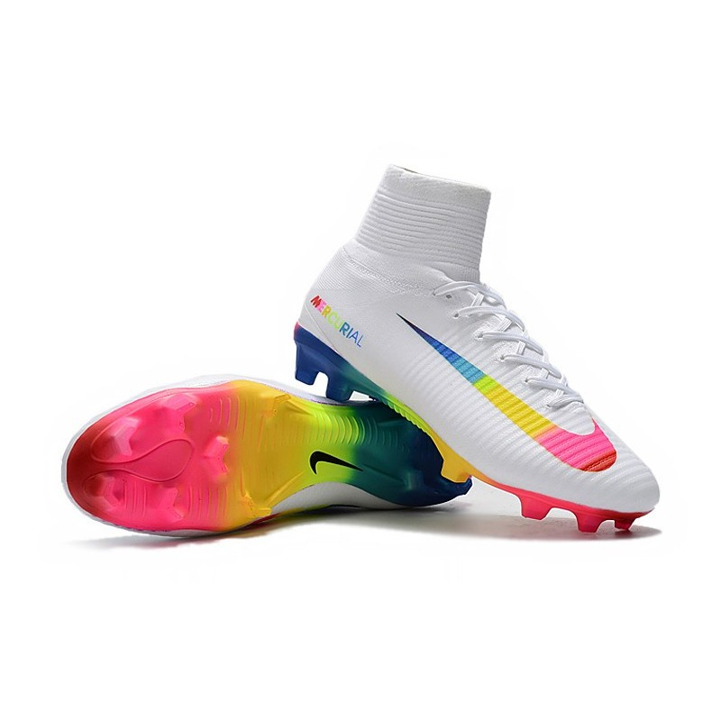 info for 92617 f15b5 Nike Mercurial Superfly 5 FG Firm Ground Boot -White Rainbow