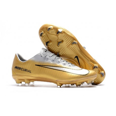 Nike Mercurial Vapor XI FG Firm Ground Soccer Cleat - White Golden