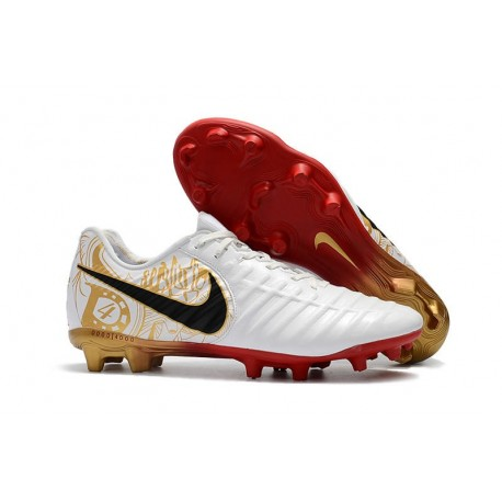 Mens Nike Tiempo Legend 7 FG Football Boot White Red Gold
