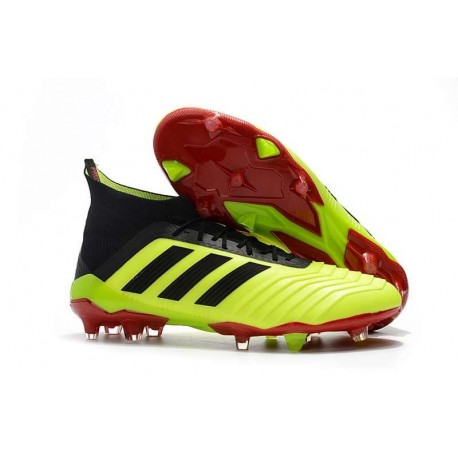 La nueva Adidas Predator FG Zapatos de futbol Volt negro rojo