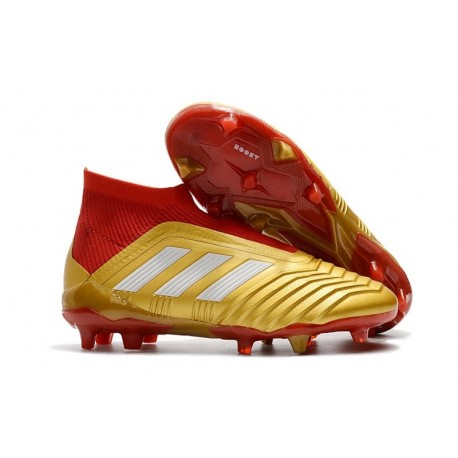 adidas Men's Predator 18+ FG Soccer Boots Gold Red White