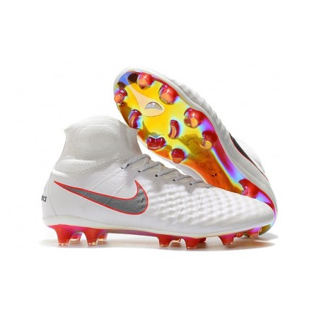 Nike Magista Obra 2 FG Firm Ground Football Shoes - White Grey Red