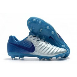 Nike Tiempo Legend VII FG Firm Ground Cleats - Silver Blue