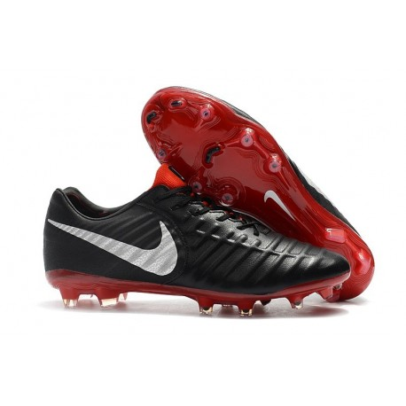 Nike Tiempo Legend VII FG Firm Ground Cleats - Black Red Silver