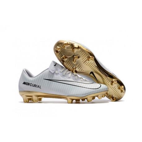 Nike Mercurial Vapor 11 CR7 Vitórias FG ACC Mens Soccer Boots White Gold