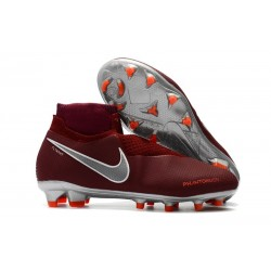 Nike Mens Phantom Vision Elite DF FG Soccer Cleat - Red Silver