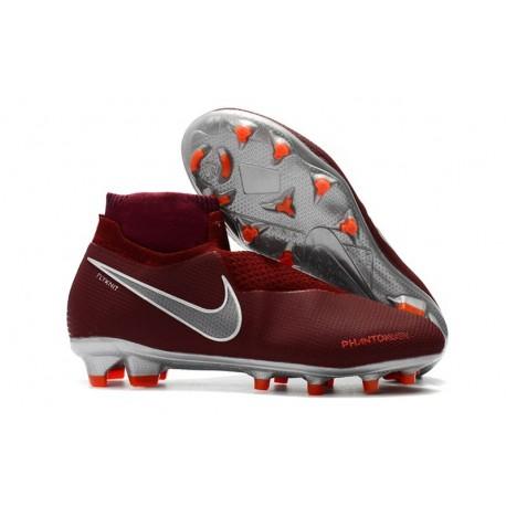 Nike Mens Phantom Vision Elite DF FG Soccer Cleat - Red Silver