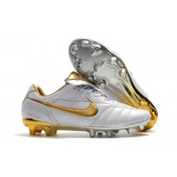 Nike Tiempo Legend 7 R10 FG ACC New Soccer Cleat - White Golden