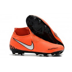 Nike Mens Phantom Vision Elite DF FG Soccer Cleat - Orange Black Silver