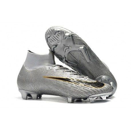 Nike Mercurial Superfly 6 Elite Firm Ground Cleats - Silver Black